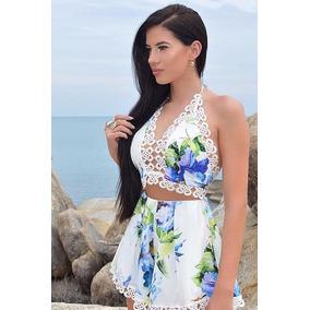 Set Crop Top Short Y Blusa Casual Flores Moda Envio Gratis