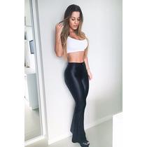 Calça Feminina Flare Bailarina Cintura Alta Disco Hot Pants