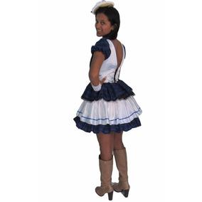Vestido Festa Junina Caipira Branco Com Azul Adulto + Luva