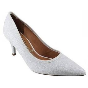 Sapato Scarpin Prata C/ Brilho