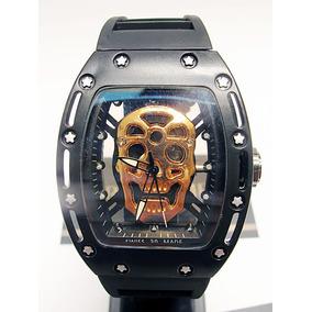 Reloj Skeleton Craneo Richard M I L L E Skull Negro Cobre