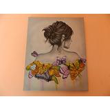 Cuadro Pintado Al Oleo - Mujer De Las Mariposas