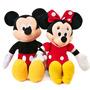 2 Pelucias Mickey E Minnie Laço Vermelho Músicais + Brindes