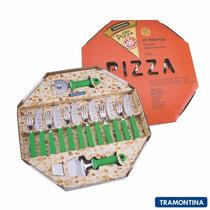 Novo Kit Para Pizza 14 Peças Verde Tramontina Inox