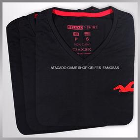 Camisetas Camisas Masculina Gola V Kit Com 3 Peças