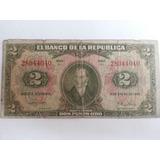 Billete 2 Dos Pesos Oro 1 De Enero De 1955 8 Digitos