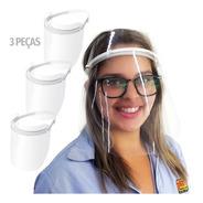Máscara De Proteção Facial Incolor Face Shield Kit 3 Peças