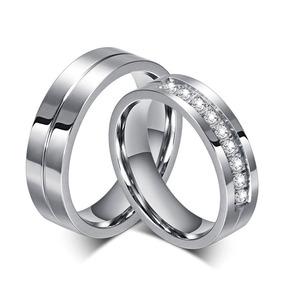 Par De Alianças De Compromisso Namoro Pedras De Aço Inox
