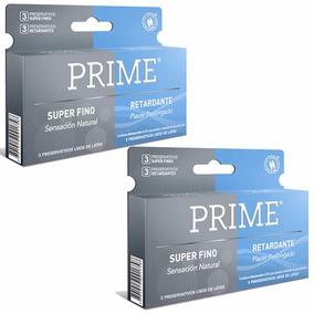 Preservativos Prime 2x1 Super Fino Y Retardante X12 Unidades