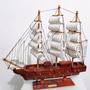 Barco Caravela 40x37cm Mogno Réplica Em Madeira Montado