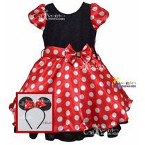 Vestido De Festa Infantil Minnie 06 Ao 14 Com Tiara Orelinha