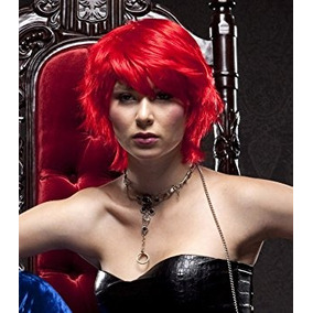 Disfraz Rojo Moderna Cabello Corto Pelucas De Pelucas De Pe