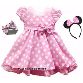 Vestido Fantasia Infantil Festa Luxo Minnie Rosa E Tiara