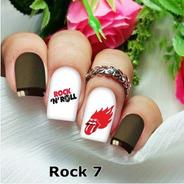 Pelicula Unha/adesivos Unhas Boca De Fogo Rock Rk07