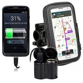 Tomada 12v E 5v Usb Moto Carrega Celular Gps + Suporte K64