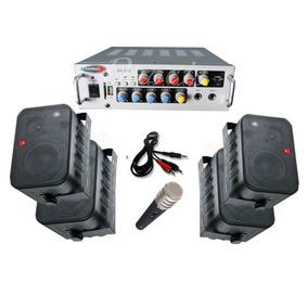 Amplificador Usb Mp3 Mic + 4 Bafles Mus. Funcional Y Karaoke