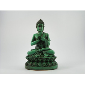 Buda Hindu Na Flor De Lotus Verde Betumado Resina