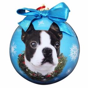 Esfera Navideña Esmaltada Boston Terrier - Hermosa!