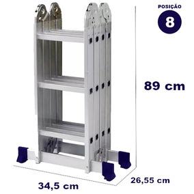 Escada Articulada Aluminio 8 Em 1 4x3 12 Degraus Mor