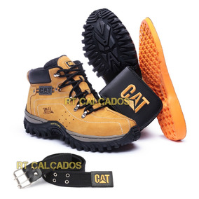 Kit Bota Adventure Caterpillar + Palmilha Gel Carteira Cinto
