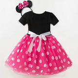 Fantasia Infantil Minnie Mousse Rosa Com Arco 4 E 5 Anos
