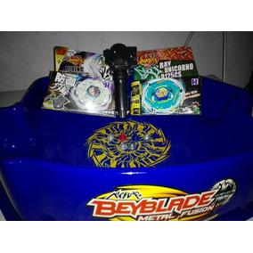 Combo # Oferta!! 2 Beyblade + Mango Lanzador + Estadio Azul