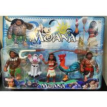 Kit 4 Personagens Filme Moana + 2 Acessórios Disney