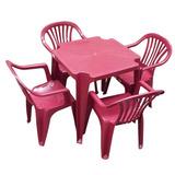 Conjunto Mesa + 4 Cadeiras Poltrona Plástico Vinho Promoção