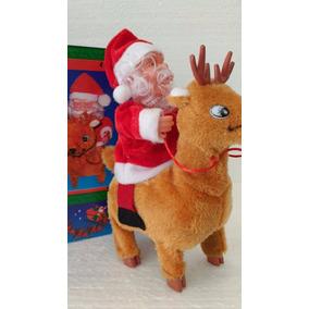 Papai Noel Com Rena Musical Decoração Natalina