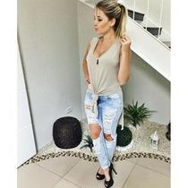 Regata Regatão Roupa Feminina Blusa Com Nozinho Barata Cinza