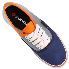 Zapatillas Airwalk Ntl Lona Gris Naranja Hombre Mujer Nuevas