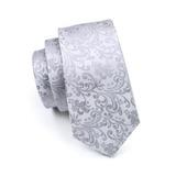 Ls-1169 Clásico Plata Floral Mens Seda Tie Set Corbata