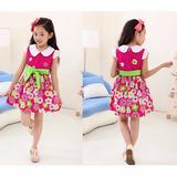 Vestido Infantil Menina Floral 6 E 7 Anos