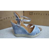 Sandalia Offline Anabela Azul Jeans/prata C Trice Salto 12,3