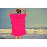 Poncho De Toalla Cambiador Fucsia Mujer Surf Body Natacion