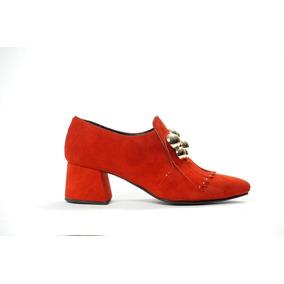 Natacha Zapato Mujer Botineta Gamuza Rojo Con Aplique #470