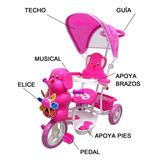 Triciclo Con Guía Bebe Niño Niña Infantil Musical Paseador