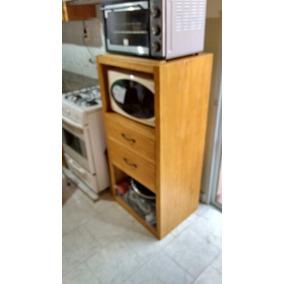 Mueble Auxiliar Para Cocina Color Nogal Madera De Pino