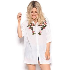 Camisa Camisola Blusa Con Apliques Bordados Mujer Primavera