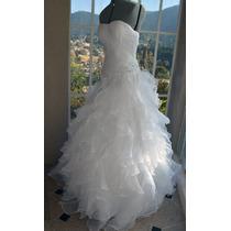 Vestido De Novia Sirena Holanes Straple Blanco Talla 34-36