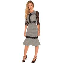 Oferta Vestido Vestido Compose Lurex Moda Evangélica Bege