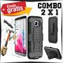 Funda Moto Z Play Protector Clip Uso Rudo Y Cristal Templado