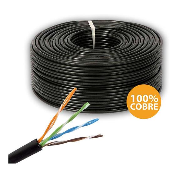 Rollo Cable 100m Utp Cat 5e Exterior 100% Cobre Cctv Alarmas
