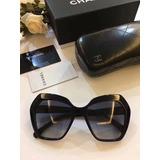 Óculos Armação De Sol Feminino Chanel Acetato Hexagonal