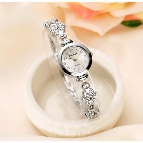 Relógio Feminino De Pulso Quartz Com Pulseira Com Pedras