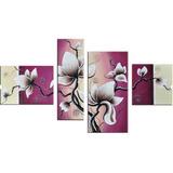 Cuadros De Flores Color Violeta Crema Blanco Negro