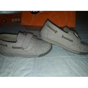 Zapato / Calzado Infantil Con Abrojo Cuero Camel * Ferli *