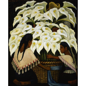 Lienzo, Tela, Diego Rivera,1943 Vendedora Alcatraces,70x86cm