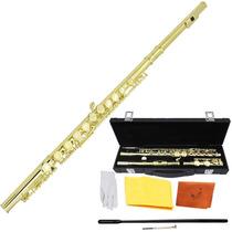 Flauta Transversal Dorada Traversa Estuche Orificio Cerrado