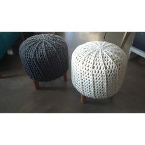 Banqueta Puff Tejido Crochet Funda Lana 35x40cm -vuillt Home